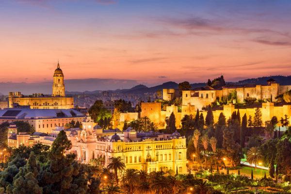 Panoramic view of Malaga at night