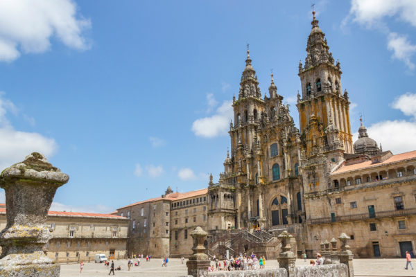 Façade of the Cathedral of Santiago de Compostela and Plaza Obradoiro