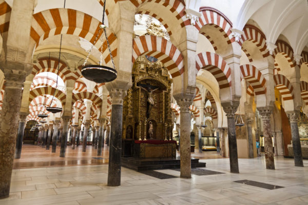 Interior view of columns in Mosque-Cathedral in Cordoba, Spain