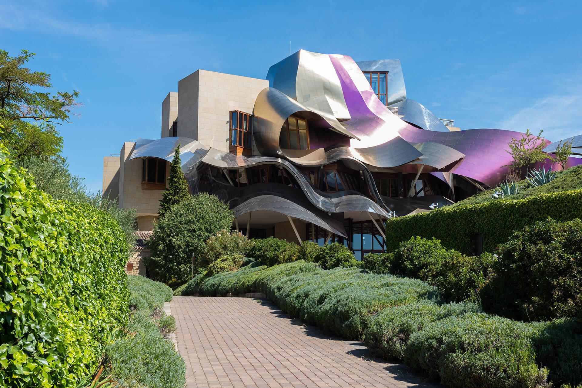 Frank Gehry designed hotel El Marques de Riscal in Elciego, Spain