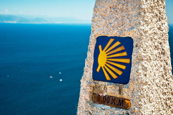 Saint James Way distance marker in Finisterre, Spain